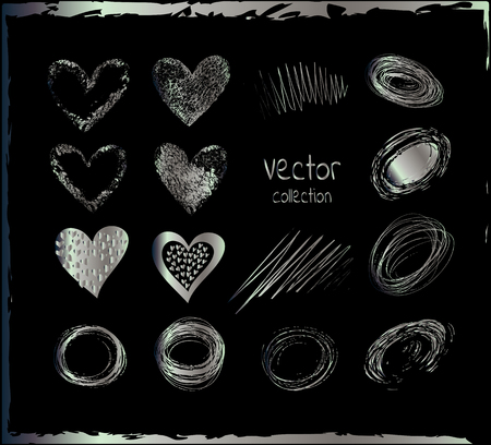argentum: Silver vector hearts. Silver set of the hand drawing hearts, isolated on black. Vector set of silver hearts. Silver shapes on a black background. Illustration