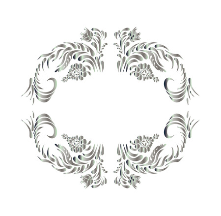 silver texture: Royal design element. Silver texture. Silver flower on white background