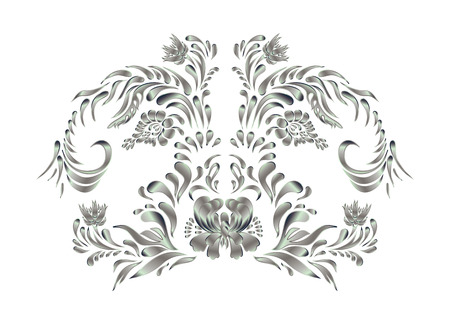 indian fabric: Royal design element. Silver texture. Silver flower on white background