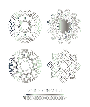 silver: Traditional silver decor. Oriental silver pattern. Abstract silver ornament.