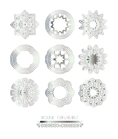 silver texture: Royal circle design elements. Silver texture. Silver mandala on white background
