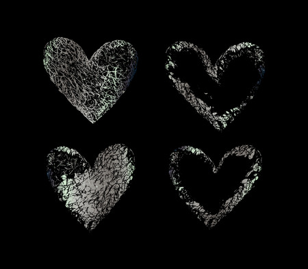 argentum: Silver hearts. Silver set of the hand drawing hearts, isolated on black. Set of silver hearts. Silver shapes on a black background.