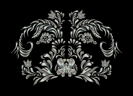 black and silver: Silver flowers on black background. Silver floral pattern on black. Silver vintage floral pattern