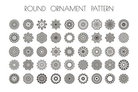 mandalas: Round ornament pattern. Set of ornament round mandalas. Illustration