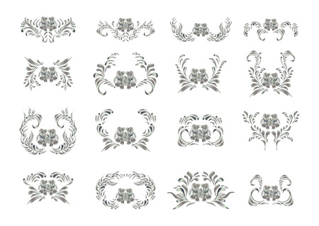 silver: Oriental silver pattern. Abstract art silver ornament. Stock Photo