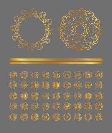 Traditional golden decor on gray background. Abstract golden ornament.