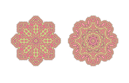 vermilion: Pink ornate lacy vintage background. Circle background with many details.
