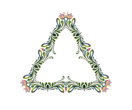 marcos redondos: Arte floral marco. corona de flores. dibujado a mano ilustración
