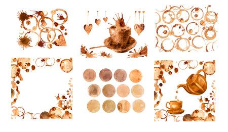 Kaffee Fleck auf einem weißen Hintergrund. Kaffeetasse markiert auf weißem Hintergrund.