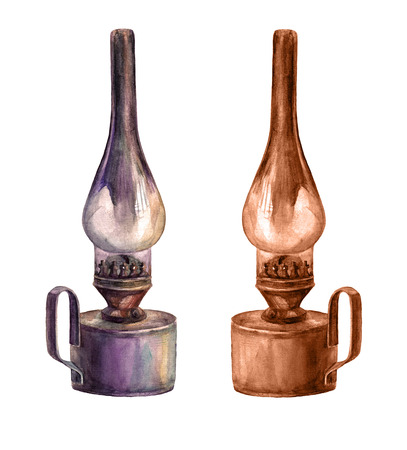 kerosene: Watercolor art  kerosene lamp. Vintage art lantern. Stock Photo