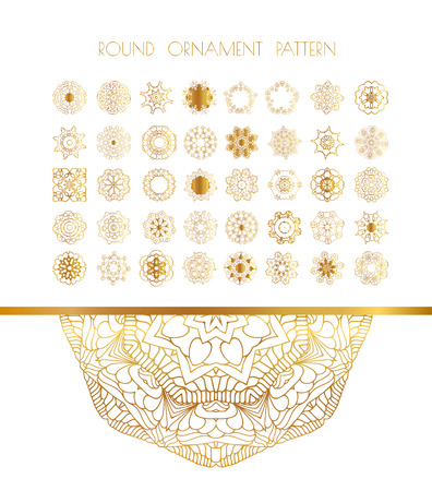 colection: Traditional golden decor on white background. Abstract golden ornament. Vector illustration.