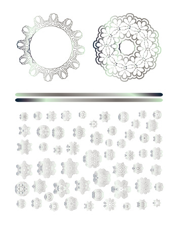 silver: Oriental silver pattern. Abstract art silver ornament. Illustration