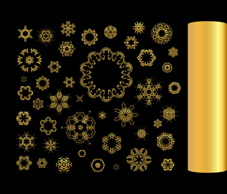 argent: Gold circular ornament on black background. Golden pattern