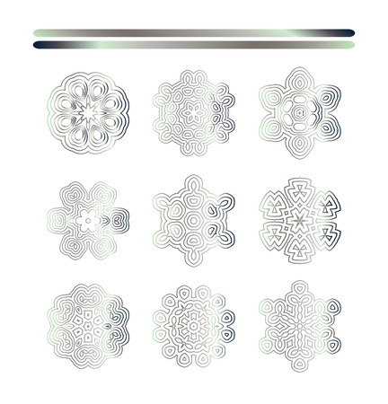 argentum: Traditional silver decor. Abstract silver ornament set.