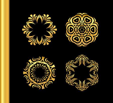 shiny argent: Gold circular ornament on black background. Golden pattern