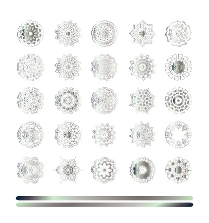 shiny argent: Traditional silver decor. Abstract silver ornament set.