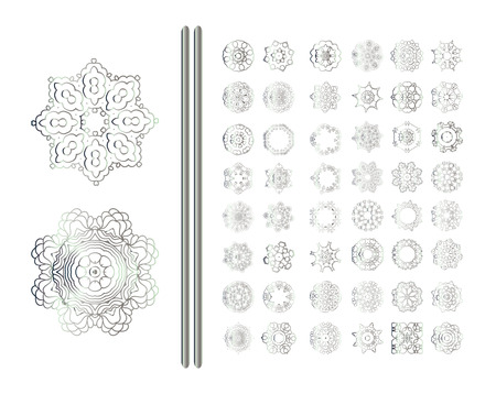 silver: Traditional silver decor. Abstract silver ornament set.