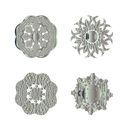 argentum: Abstract silver ornament. Abstract silver ornament set.