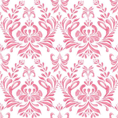 ukrainian traditional: Ukrainian traditional style. Petrykivka fabric seamless ornament Illustration