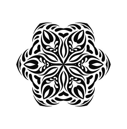 Elementi di disegno del fiocco di neve decorativi disegnati a mano. Fiocco di neve ornato nero isolato su sfondo.