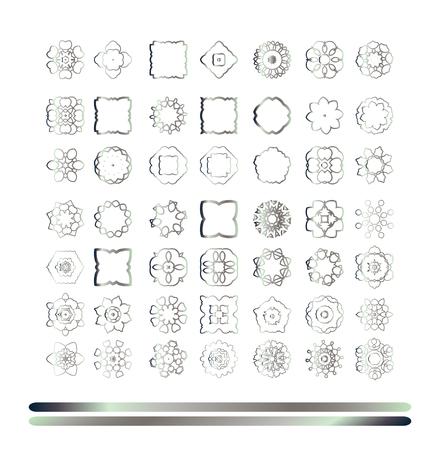 silver: Traditional silver decor. Abstract art silver ornament.