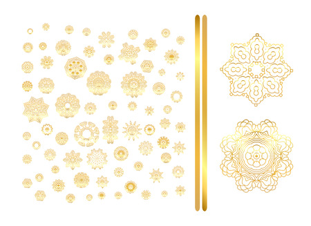 colection: Traditional golden decor on white background. Art lacy illustration. Stock Photo