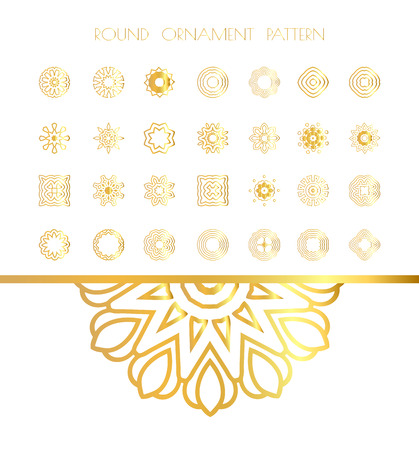 colection: Traditional golden decor on white background. Oriental gold pattern.