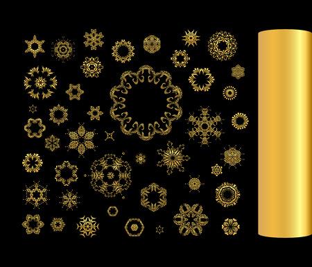 argentum: Gold circular ornament on black background. Golden art pattern