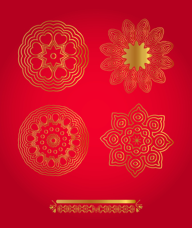 gold snowflakes: Vector set gold snowflakes on red background