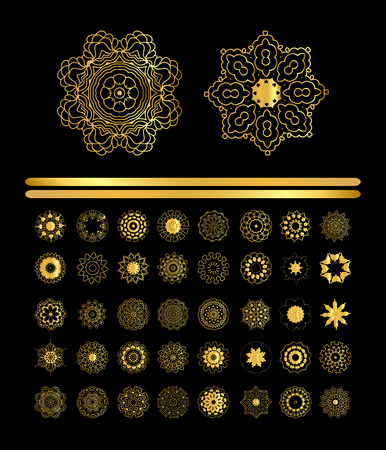 argentum: Gold circular ornament on black background. Golden pattern