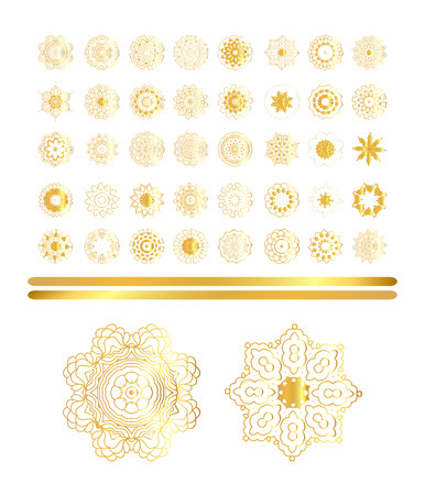 colection: Traditional golden decor art on white background.