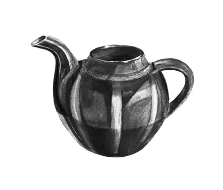 Illustration Tea Time with teapot.  Watercolor illustration.