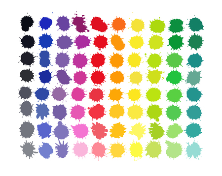 Colorful watercolor splashes isolated on white background. Art illustration