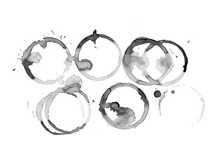 Coffee stain on a white background. Coffee cup marks on white background.