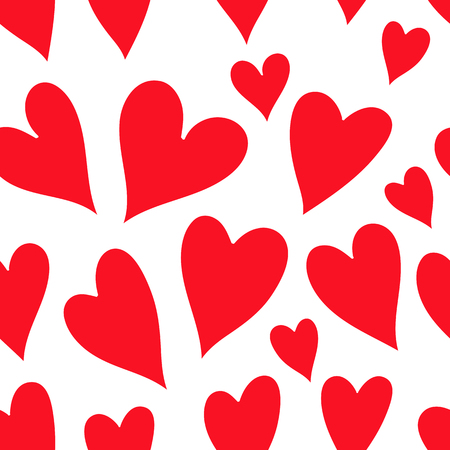 Seamless heart background in red and white colors