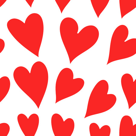 Vector Valentines Day pattern. Seamless heart background in red and white colors Illustration