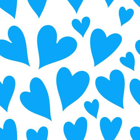 corazones azules: corazones de color azul claro sobre un fondo blanco. Vectorial de arte