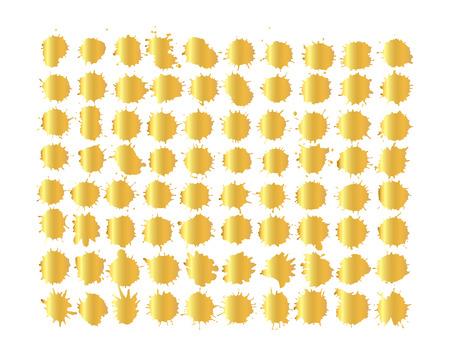 Gold  watercolor splashes isolated on white background. Art illustration