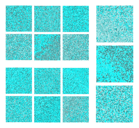 skyblue: Abstract square pixel blue mosaic background set Illustration
