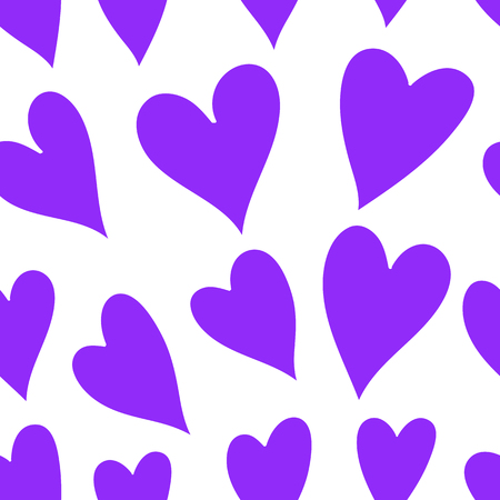 Seamless heart background in violet and white colors