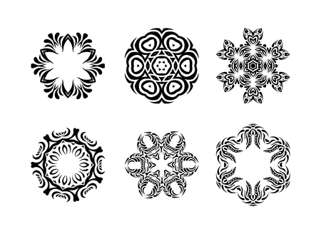 scalable set: Ornament in east style.  Set of hand drawn mandala on white background, geometric mandalas, scalable abstract mandala for background Stock Photo