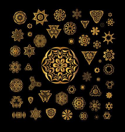 Ornamental golden round lace background. Ornament invitation card with mandala. Vintage decorative elements. Ethnic gold pattern.