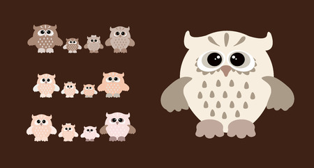 Cute owl family. Set of  colourfull owls Stock Photo