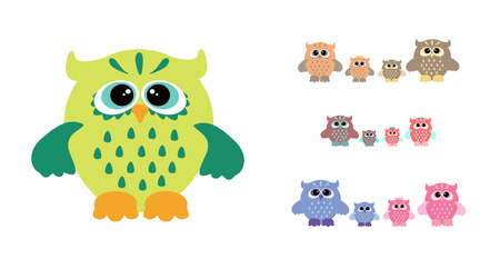 owl family: Cute owl family. Owls mother father son and daughter