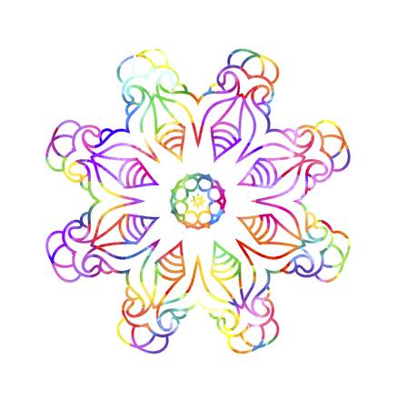 Ornamental retro Mandala. Watercolor painting on paper