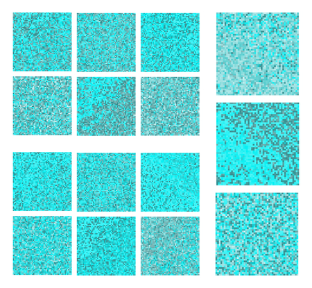 skyblue: Abstract square pixel blue mosaic background set Stock Photo