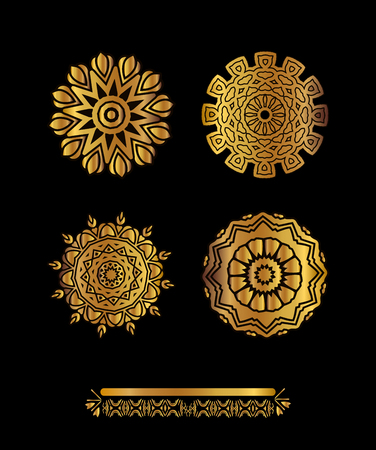 gold ornaments: Ethnic vintage pattern design for your invitations