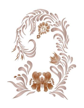 floral swirls: Brown floral pattern with vintage flowers. Brown floral ornament
