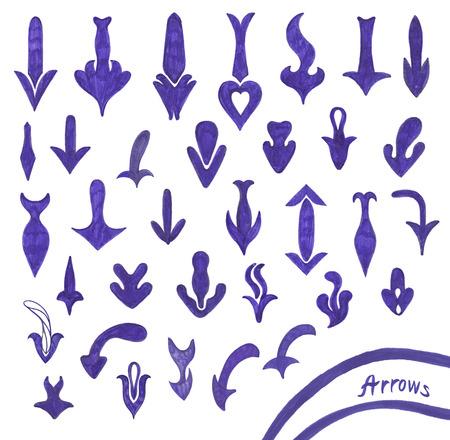 Sketching set of grunge blue arrow symbols