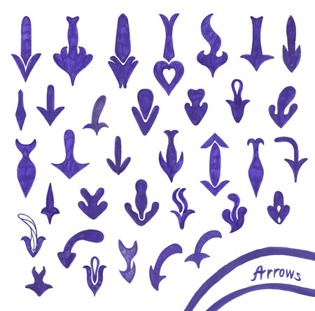 highlighter pen: Sketching set of grunge blue pen arrow symbols Illustration